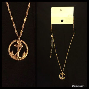 NWT H&M Necklace Anchor Pendant Gold Tone Nautical